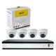 DSC AK04D7V10 комплект цифров AHD видеорекордер с 4 външни куполни аналогови видеокамери